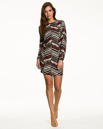 Tribal Print Challis Boat Neck Tunic Dress