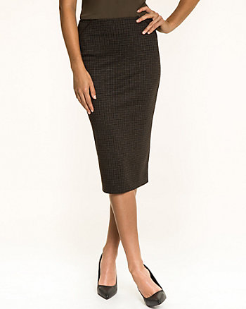 Check Print Ponte High Waist Skirt