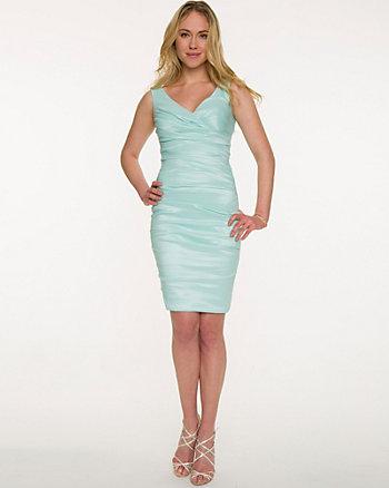 Taffeta V-Neck Cocktail Dress