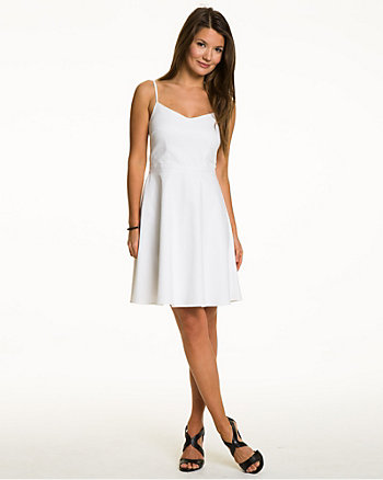 Cotton Blend Fit & Flare Dress