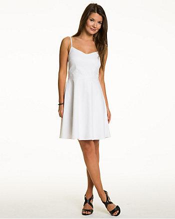 Cotton Blend Fit & Flare Dress