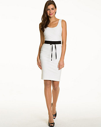 Ponte Belted Scoop Neck Shift Dress