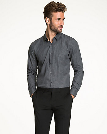 Houndstooth Cotton Slim Fit Shirt