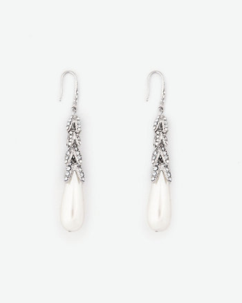 Gem & Pearl-Like Teardrop Earrings