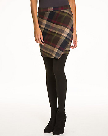 Check Viscose Blend Faux Wrap Skirt