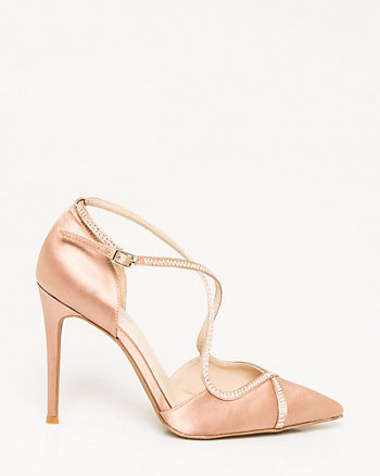 Jewel Embellished Satin Criss-Cross Pump