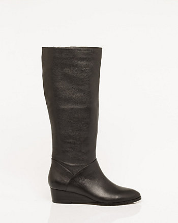 Pebble Leather Wedge Boot