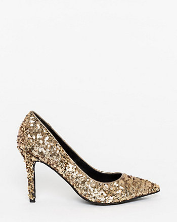 Sequin Pointy Toe Pump