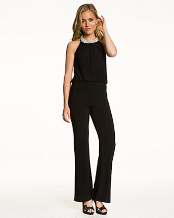 Knit Jewel Embellished Wide Leg Jumpsuit
