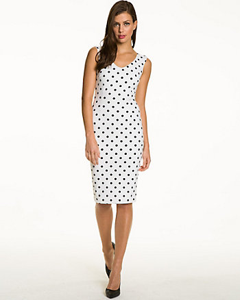Polka Dot Ponte V-Neck Shift Dress