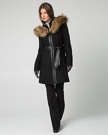 Melton Coat with Faux Fur Trim