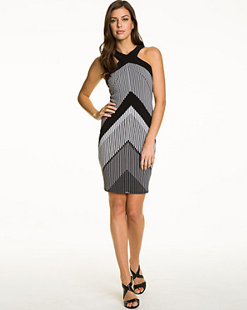 Chevron Print Knit Halter Dress