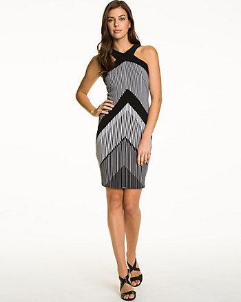 Chevron Print Knit Halter Dress