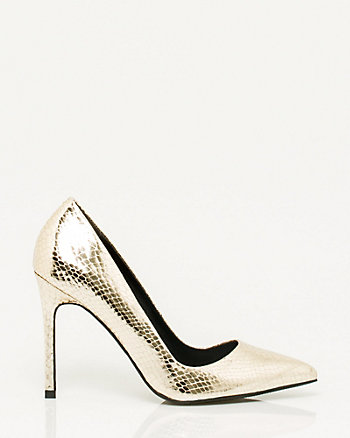 Snake Embossed Leather-Like Pump