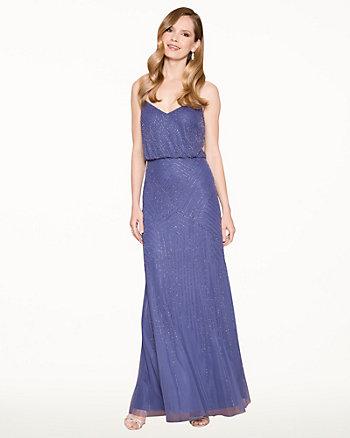 Beaded Chiffon V-Neck Gown