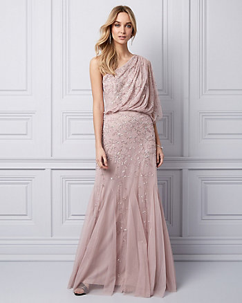 Beaded Chiffon One Shoulder Gown