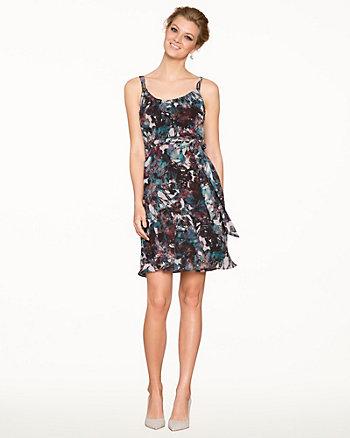 Abstract Print Chiffon Cocktail Dress