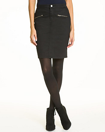 Cotton Blend Twill Pencil Skirt