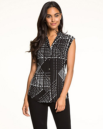 Check Crêpe de Chine Button-Front Blouse