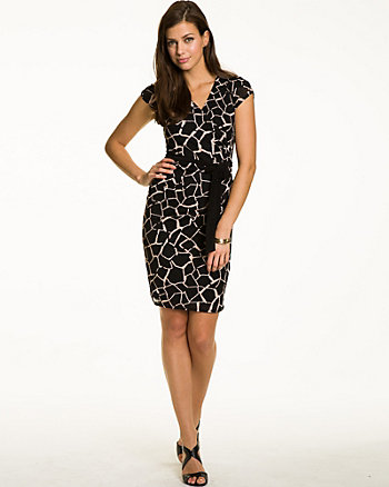 Giraffe Print Faux Wrap Dress