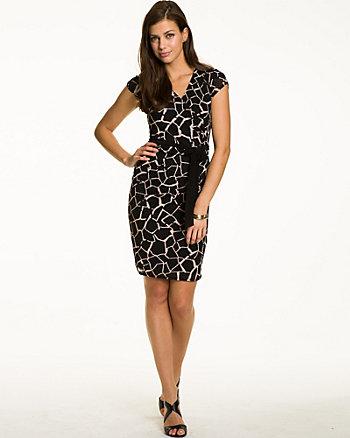 Giraffe Print Faux Wrap Dress