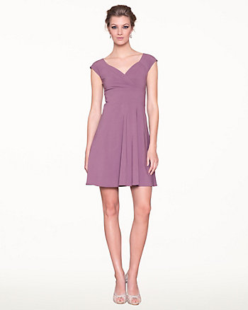 Bengaline Pleated V-Neck Cocktail Dress