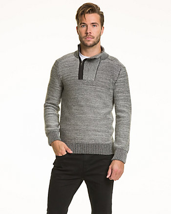 Tonal Cotton Semi-Fitted Sweater