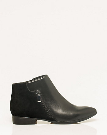 Leather & Suede Pointy Toe Bootie