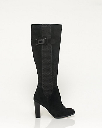 Suede & Lycra Almond Toe Knee-High Boot