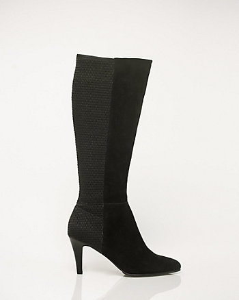 Suede & Lycra Pointy Toe Knee-High Boot