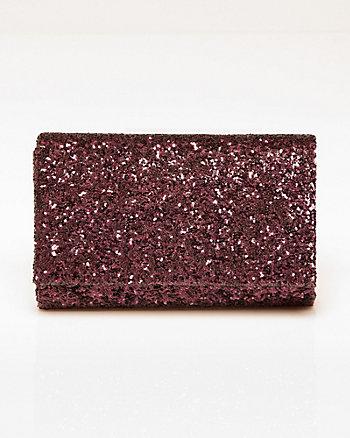 Chunky Glitter Flapover Clutch