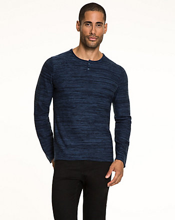 Tonal Cotton Blend Henley Sweater