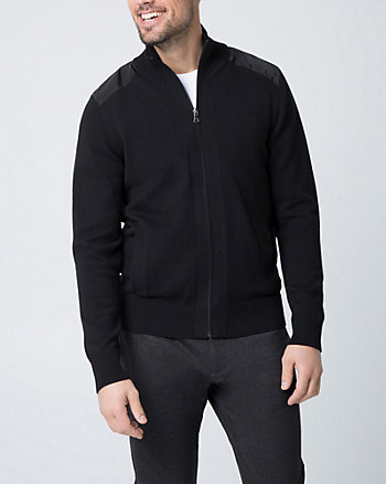 Tonal Cotton Funnel Neck Cardigan