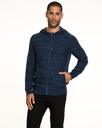 Cotton Blend Zip-Front Hoodie