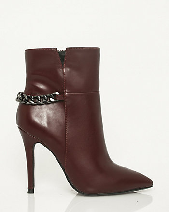 Faux Leather Pointy Toe Bootie