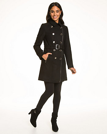 Melton Double Breasted Military Coat