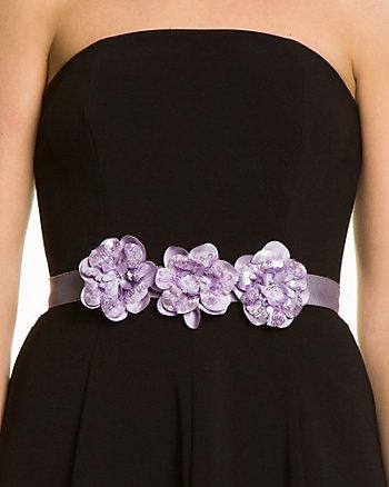 Satin Embellished Flower Sash