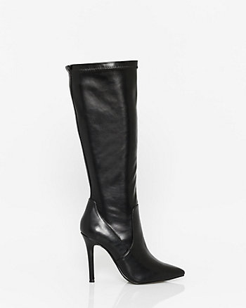 Stretch Leather-Like Knee-High Boot
