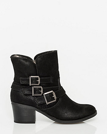Suede Buckled Ankle Boot