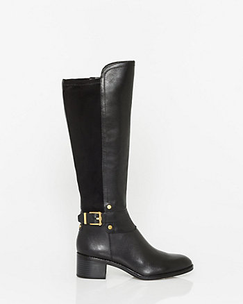 Leather & Elastic Panel Knee-High Boot