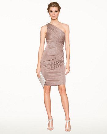 Sparkle Knit One Shoulder Cocktail Dress