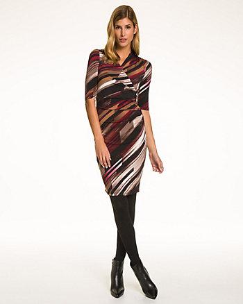 Stripe Knit Faux Wrap Dress