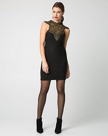 Lace & Ottoman Knit Illusion Cocktail Dress
