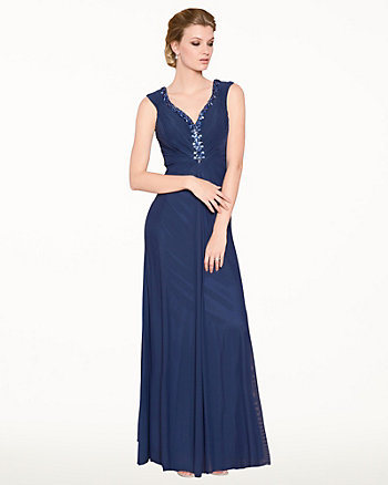 Embellished Mesh V-Neck Gown