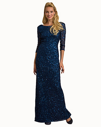 Sequin Boat Neck Open Back Gown