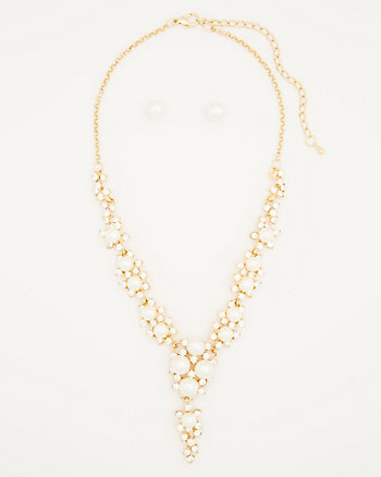 Gem & Pearl-Like Earrings & Necklace Set