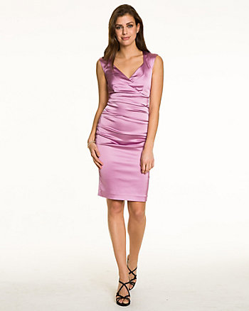 Pleated Satin V-Neck Cocktail Dress