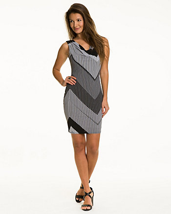 Chevron Print Cowl Back Dress