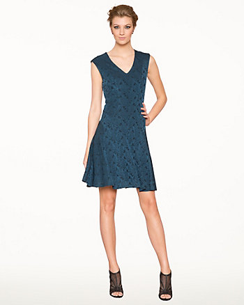 Jacquard V-Neck Fit & Flare Dress