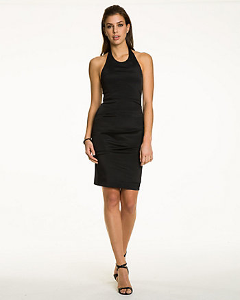 Taffeta Ruched Halter Dress